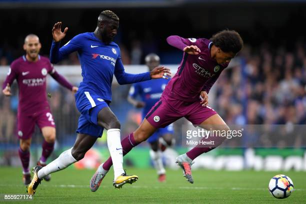 Tiemoue Bakayoko of Chelsea and Leroy Sane of Machester City battle for possession during the Premier League match between Chelsea and Manchester...