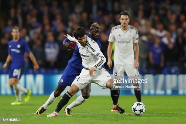 Tiemoue Bakayoko of Chelsea and Mahir Madatov of Qarabag FK battle for possession during the UEFA Champions League Group C match between Chelsea FC...