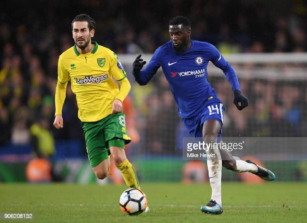 Tiemoue Bakayoko of Chelsea and Mario Vrancic of Norwich City in action during The Emirates FA Cup Third Round Replay between Chelsea and Norwich...