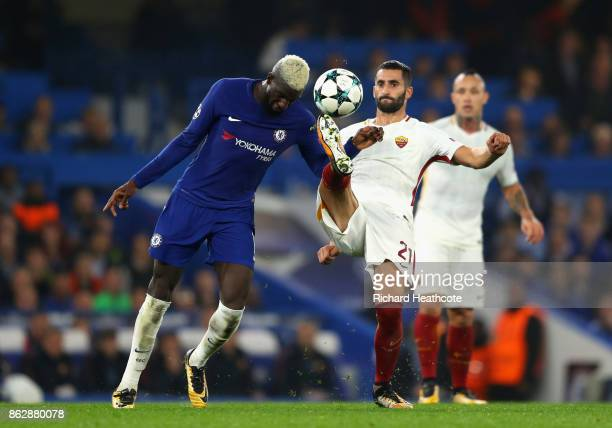 Tiemoue Bakayoko of Chelsea and Maxime Gonalons of AS Roma battle for possession during the UEFA Champions League group C match between Chelsea FC...