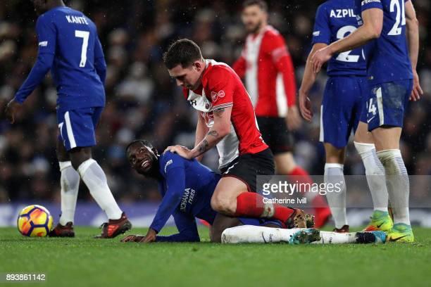 Tiemoue Bakayoko of Chelsea and PierreEmile Hojbjerg of Southampton clash during the Premier League match between Chelsea and Southampton at Stamford...