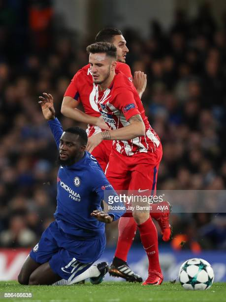 Tiemoue Bakayoko of Chelsea and Saul Niguez of Atletico Madrid during the UEFA Champions League group C match between Chelsea FC and Atletico Madrid...