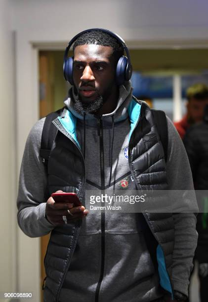 Tiemoue Bakayoko of Chelsea arrives at the stadium prior to The Emirates FA Cup Third Round Replay between Chelsea and Norwich City at Stamford...