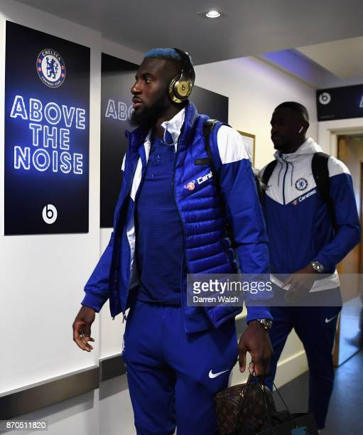 Tiemoue Bakayoko of Chelsea arrives at the stadium prior to the Premier League match between Chelsea and Manchester United at Stamford Bridge on...