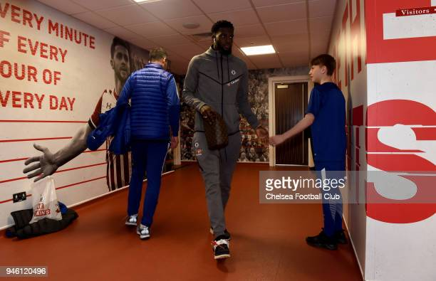 Tiemoue Bakayoko of Chelsea arrives at the stadium prior to the Premier League match between Southampton and Chelsea at St Mary's Stadium on April 14...