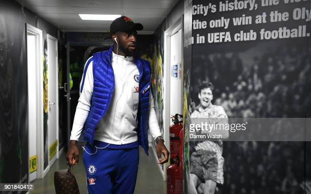 Tiemoue Bakayoko of Chelsea arrives for The Emirates FA Cup Third Round match between Norwich City and Chelsea at Carrow Road on January 6 2018 in...