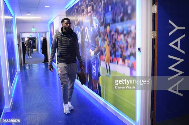 Tiemoue Bakayoko of Chelsea arrives prior to The Emirates FA Cup Quarter Final match between Leicester City and Chelsea at The King Power Stadium on...