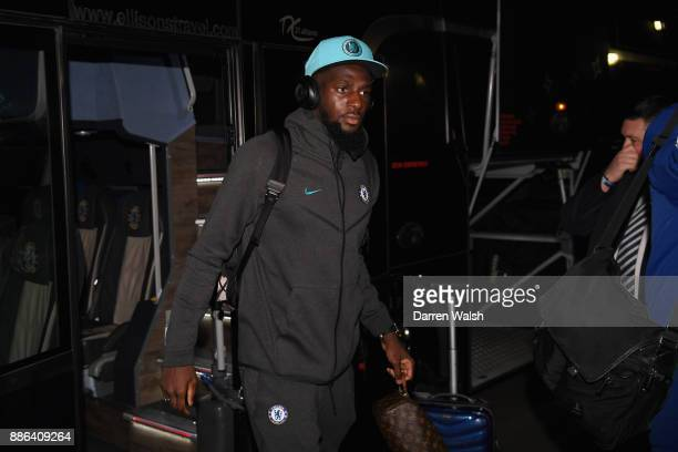 Tiemoue Bakayoko of Chelsea arrives the UEFA Champions League group C match between Chelsea FC and Atletico Madrid at Stamford Bridge on December 5...