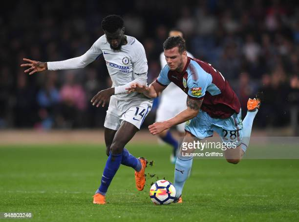 Tiemoue Bakayoko of Chelsea battles for possesion with Kevin Long of Burnley during the Premier League match between Burnley and Chelsea at Turf Moor...
