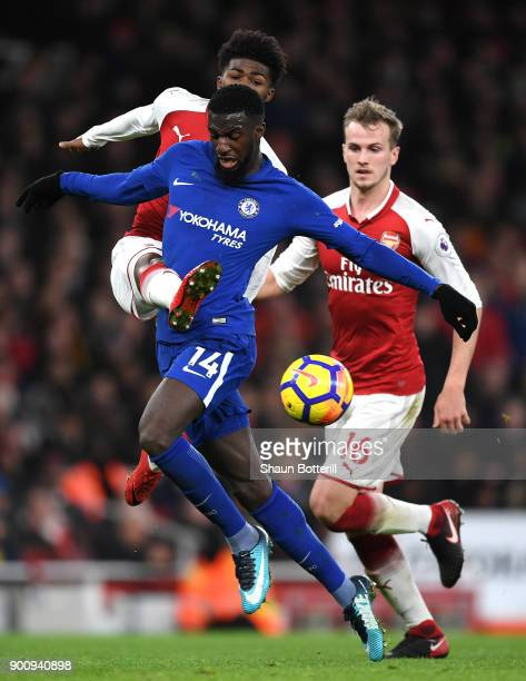 Tiemoue Bakayoko of Chelsea battles for possession with Ainsley MaitlandNiles of Arsenal and Rob Holding of Arsenal during the Premier League match...