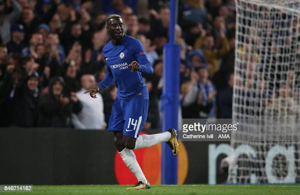 Tiemoue Bakayoko of Chelsea celebrates after he scores during the UEFA Champions League group C match between Chelsea FC and Qarabag FK at Stamford...