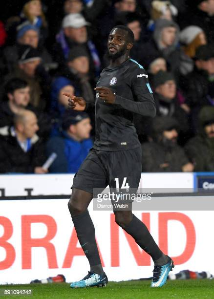 Tiemoue Bakayoko of Chelsea celebrates after scoring his sides first goal during the Premier League match between Huddersfield Town and Chelsea at...