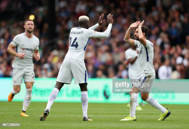 Tiemoue Bakayoko of Chelsea celebrates scoring his sides first goal with Cesc Fabregas of Chelsea during the Premier League match between Crystal...