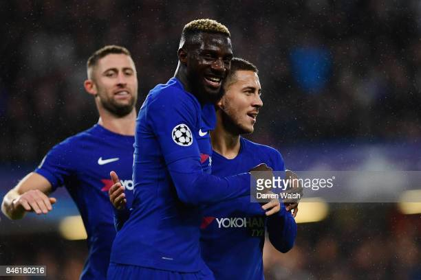 Tiemoue Bakayoko of Chelsea celebrates scoring his sides fourth goal with Eden Hazard of Chelsea during the UEFA Champions League Group C match...