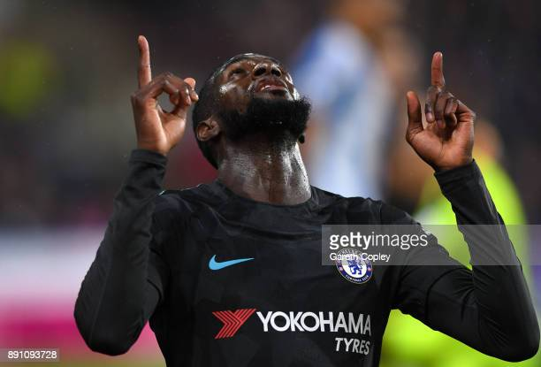 Tiemoue Bakayoko of Chelsea celebrates scoring the first Chelsea goal during the Premier League match between Huddersfield Town and Chelsea at John...