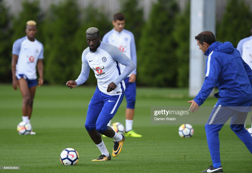 Tiemoue Bakayoko of Chelsea during a training session at Chelsea Training Ground on August 18, 2017 in Cobham, England.