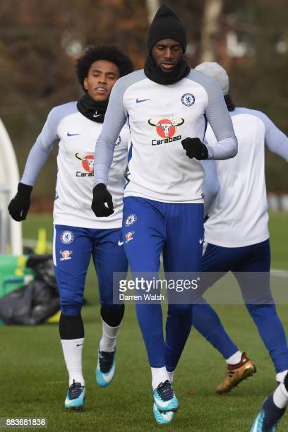 Tiemoue Bakayoko of Chelsea during a training session at Chelsea Training Ground on December 1 2017 in Cobham England