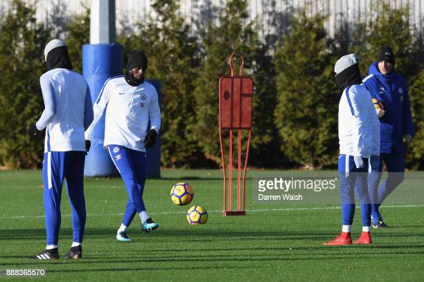 Tiemoue Bakayoko of Chelsea during a training session at Chelsea Training Ground on December 8 2017 in Cobham England