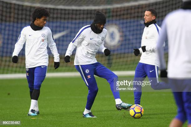 Tiemoue Bakayoko of Chelsea during a training session at Chelsea Training Ground on December 11 2017 in Cobham England