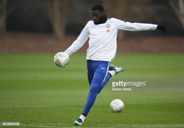 Tiemoue Bakayoko of Chelsea during a training session at Chelsea Training Ground on January 9 2018 in Cobham England