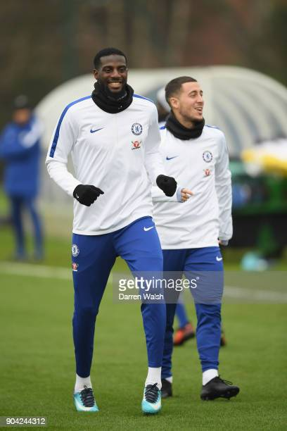 Tiemoue Bakayoko of Chelsea during a training session at Chelsea Training Ground on January 12 2018 in Cobham England