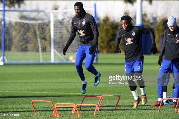 Tiemoue Bakayoko of Chelsea during a training session at Chelsea Training Ground on January 19 2018 in Cobham England