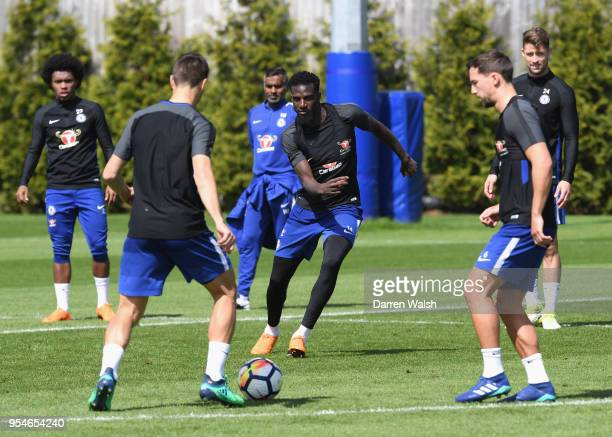 Tiemoue Bakayoko of Chelsea during a training session at Chelsea Training Ground on May 4 2018 in Cobham England