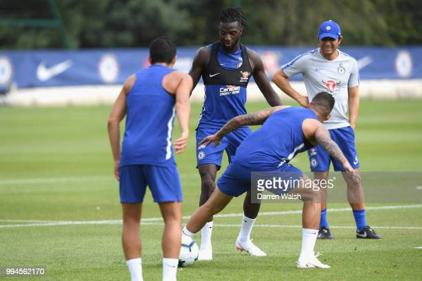 Tiemoue Bakayoko of Chelsea during a training session at Chelsea Training Ground on July 9 2018 in Cobham England