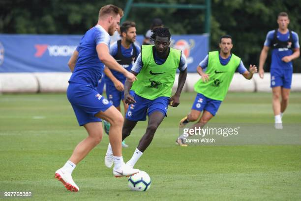 Tiemoue Bakayoko of Chelsea during a training session at Chelsea Training Ground on July 13 2018 in Cobham England