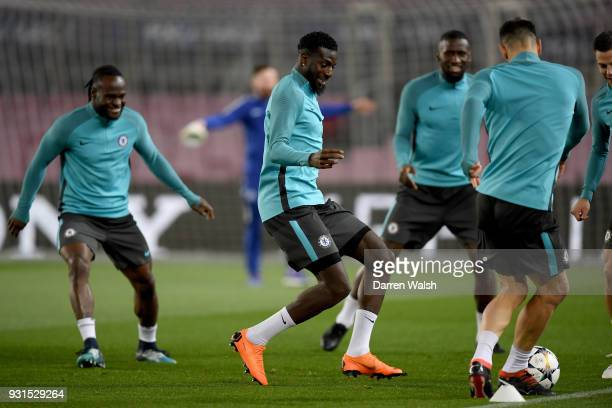 Tiemoue Bakayoko of Chelsea during a training session at Nou Camp on March 13 2018 in Barcelona Spain