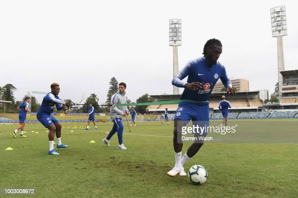 Tiemoue Bakayoko of Chelsea during a training session on July 21 2018 at the WACA in Perth Australia