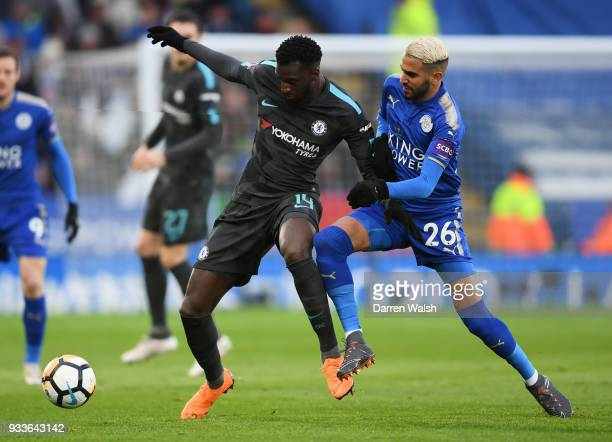 Tiemoue Bakayoko of Chelsea holds off Riyad Mahrez of Leicester City during The Emirates FA Cup Quarter Final match between Leicester City and...
