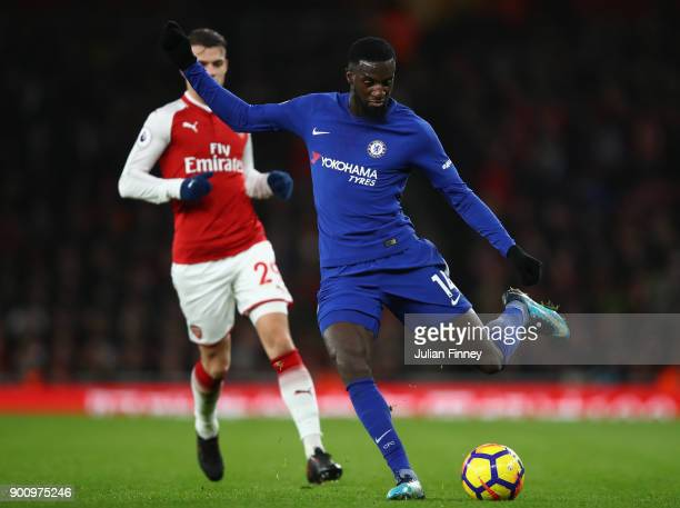 Tiemoue Bakayoko of Chelsea in action during the Premier League match between Arsenal and Chelsea at Emirates Stadium on January 3 2018 in London...