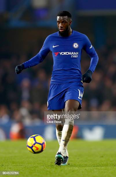 Tiemoue Bakayoko of Chelsea in action during the Premier League match between Chelsea and Leicester City at Stamford Bridge on January 13 2018 in...