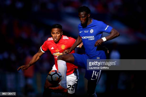 Tiemoue Bakayoko of Chelsea is challenged by Antonio Valencia of Manchester United during The Emirates FA Cup Final between Chelsea and Manchester...