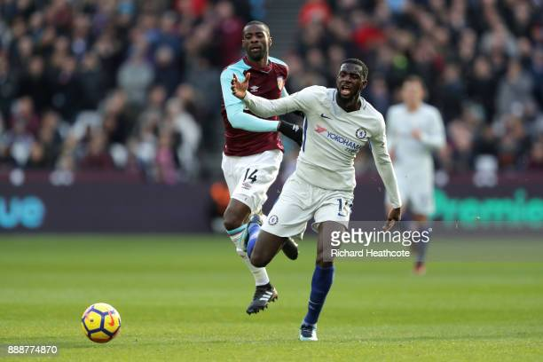 Tiemoue Bakayoko of Chelsea is challenged by Pedro Obiang of West Ham United during the Premier League match between West Ham United and Chelsea at...