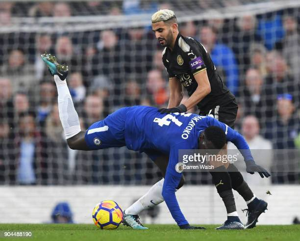 Tiemoue Bakayoko of Chelsea is challenged by Riyad Mahrez of Leicester City during the Premier League match between Chelsea and Leicester City at...