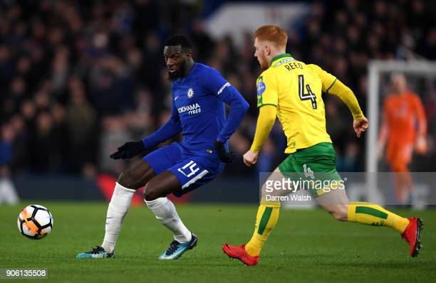 Tiemoue Bakayoko of Chelsea is closed down by Harrison Reed of Norwich City during The Emirates FA Cup Third Round Replay between Chelsea and Norwich...