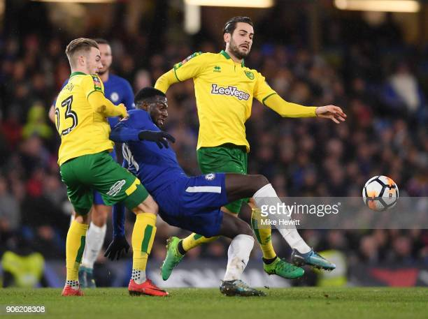 Tiemoue Bakayoko of Chelsea is closed down by James Maddison and Mario Vrancic of Norwich City during The Emirates FA Cup Third Round Replay between...