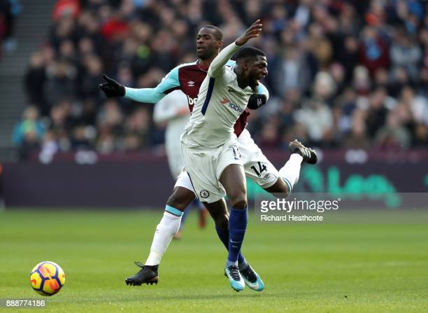 Tiemoue Bakayoko of Chelsea is fouled by Pedro Obiang of West Ham United during the Premier League match between West Ham United and Chelsea at...