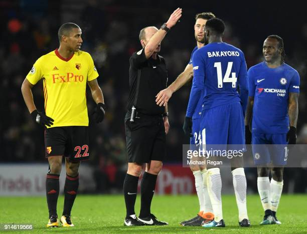 Tiemoue Bakayoko of Chelsea is sent off by referee Mike Riley during the Premier League match between Watford and Chelsea at Vicarage Road on...