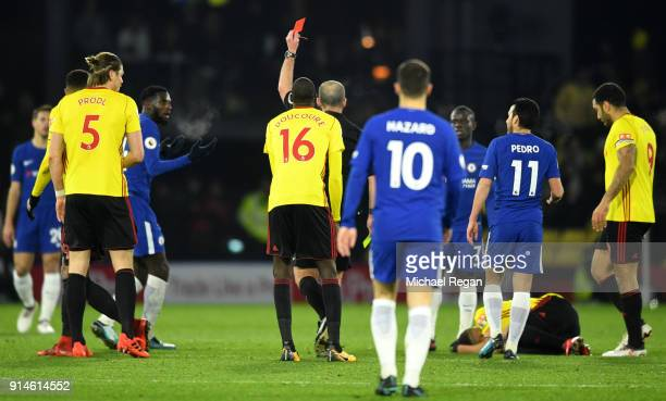 Tiemoue Bakayoko of Chelsea is shown a red card during the Premier League match between Watford and Chelsea at Vicarage Road on February 5 2018 in...
