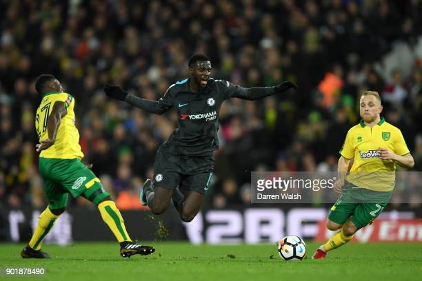 Tiemoue Bakayoko of Chelsea is tackled by Alexander Tettey of Norwich City during The Emirates FA Cup Third Round match between Norwich City and...
