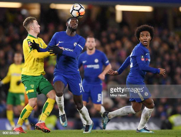Tiemoue Bakayoko of Chelsea is tackled by James Maddison of Norwich City during The Emirates FA Cup Third Round Replay between Chelsea and Norwich...