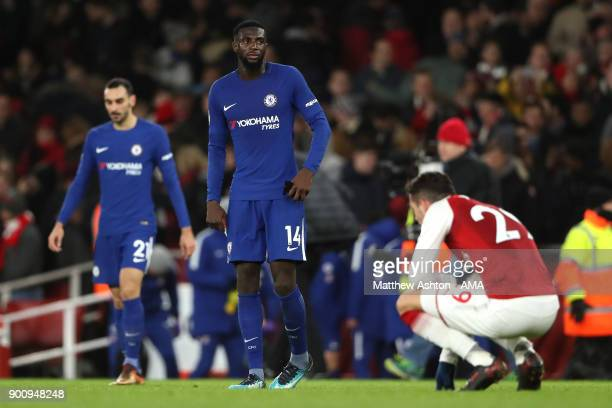 Tiemoue Bakayoko of Chelsea looks on at the end of the Premier League match between Arsenal and Chelsea at Emirates Stadium on January 3 2018 in...