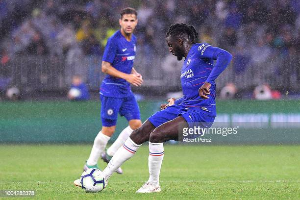 Tiemoue Bakayoko of Chelsea passes the ball during the international friendly between Chelsea FC and Perth Glory at Optus Stadium on July 23 2018 in...