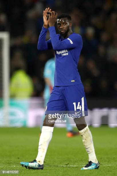 Tiemoue Bakayoko of Chelsea reacts after being shown a red card during the Premier League match between Watford and Chelsea at Vicarage Road on...