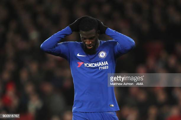 Tiemoue Bakayoko of Chelsea reacts during the Premier League match between Arsenal and Chelsea at Emirates Stadium on January 3 2018 in London England