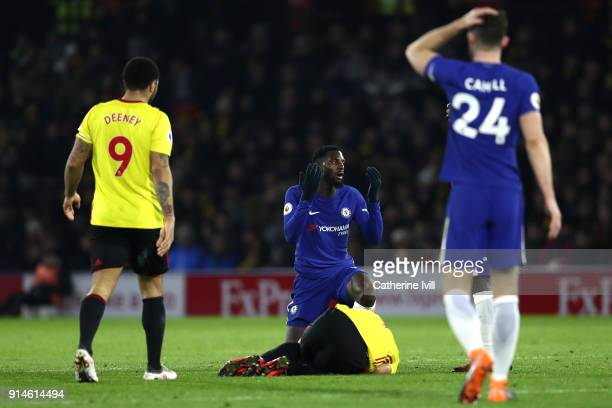 Tiemoue Bakayoko of Chelsea reacts to a tackle on Richarlison de Andrade of Watford during the Premier League match between Watford and Chelsea at...