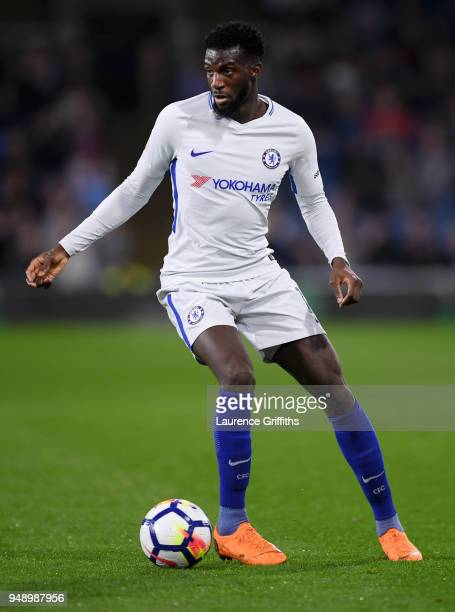 Tiemoue Bakayoko of Chelsea runs with the ball during the Premier League match between Burnley and Chelsea at Turf Moor on April 19 2018 in Burnley...